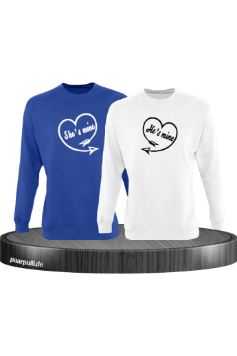 Shes Mine Hes Mine Partnerlook Sweatshirts in blau weiß