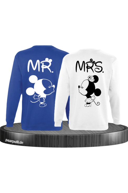 Mr Mrs Mickey und Minnie Mouse Sweatshirts in Blau Weiß