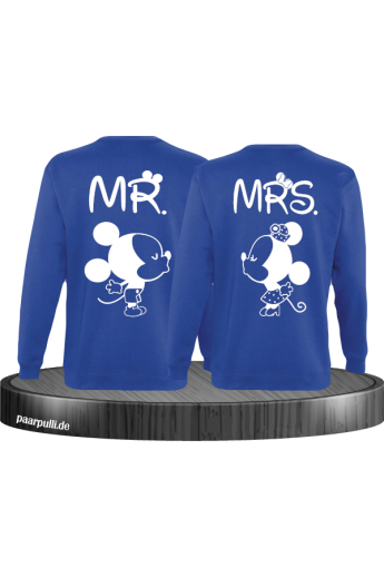 Mr Mrs Mickey und Minnie Mouse Sweatshirts in Blau