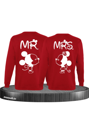 Mr Mrs Mickey und Minnie Mouse Sweatshirts in Rot