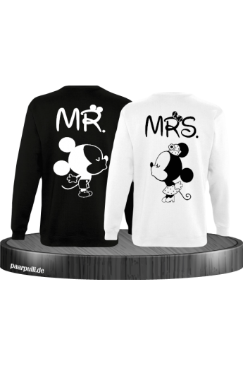 Mr Mrs Mickey und Minnie Mouse Sweatshirts in Schwarz Weiß