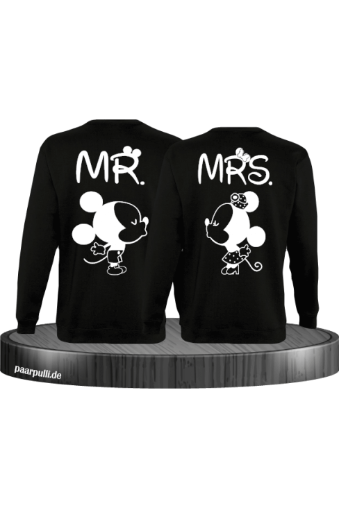 Mr Mrs Mickey und Minnie Mouse Sweatshirts in Schwarz