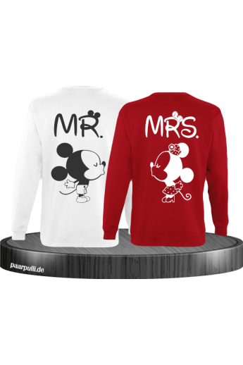 Mr Mrs Mickey und Minnie Mouse Sweatshirts in Weiß Rot