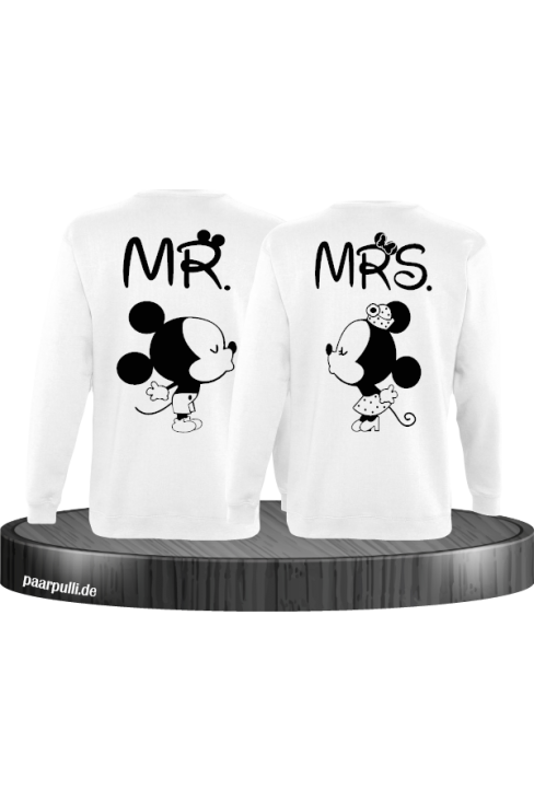 Mr Mrs Mickey und Minnie Mouse Sweatshirts in Weiß