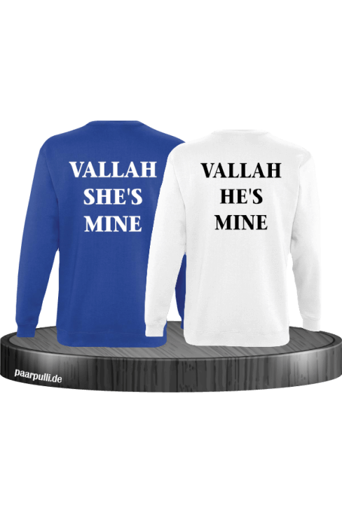 Vallah She's Mine Vallah He's Mine Sweatshirts in blau weiß