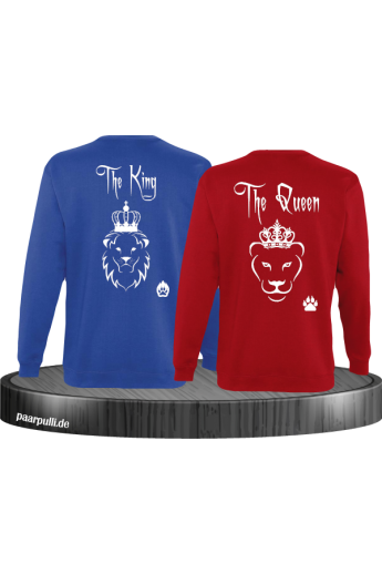 The King und The Queen mit Löwe Partnerlook Sweatshirts