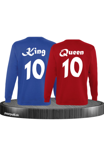 King Queen mit Wunschzahl Partnerlook Sweatshirts in blau rot