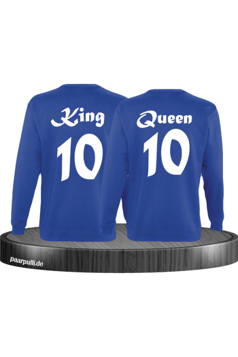 King Queen mit Wunschzahl Partnerlook Sweatshirts in blau