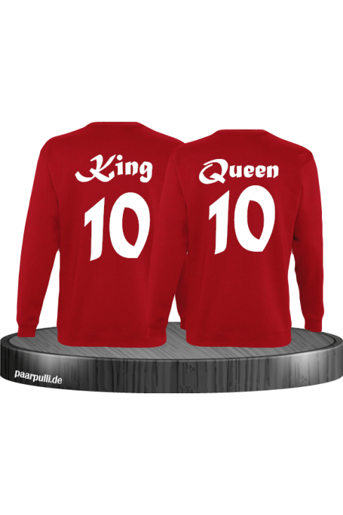 King Queen mit Wunschzahl Partnerlook Sweatshirts in rot