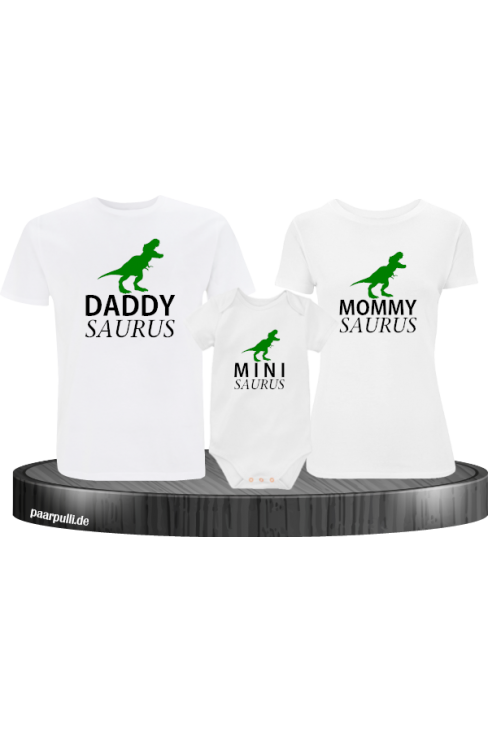 Daddy Saurus Mommy Saurus und Mini saurus familienlook mit baby body in weiß