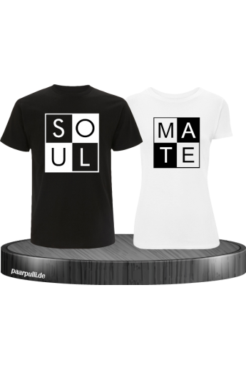 Soulmate T-Shirts Partnerlook in schwarz weiß