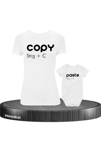 Copy Paste Mutter Kind Partnerlook und Familylook Shirts in weiß