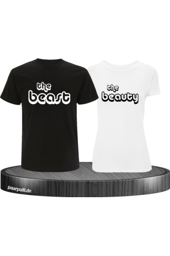The Beast und The Beauty Partnerlook T-Shirts in schwarz-weiß