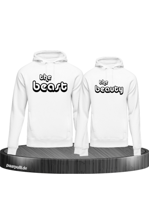 The Beast und The Beauty Partnerlook T-Shirts in weiß