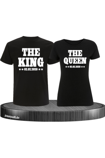 The King The Queen Partnerlook T Shirts mit Wunschdatum in schwarz