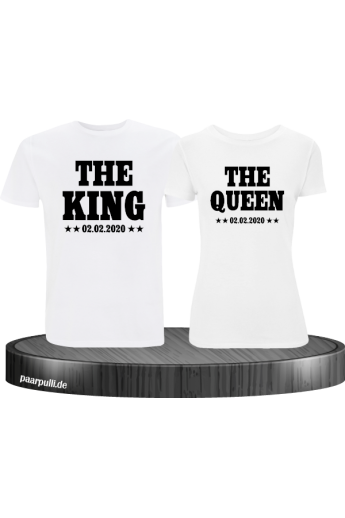 King & Queen mit Wunschdatum Partnerlook T-Shirts