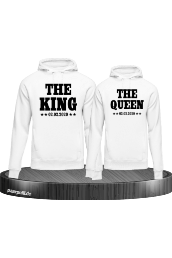 King & Queen mit Wunschdatum Partnerlook Hoodies