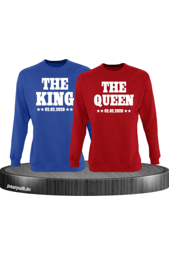 The King The Queen Partnerlook Sweatshirts mit Wunschdatum in blau rot