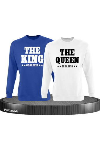 The King The Queen Partnerlook Sweatshirts mit Wunschdatum in blau weiß