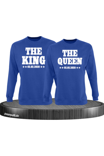 The King The Queen Partnerlook Sweatshirts mit Wunschdatum in blau