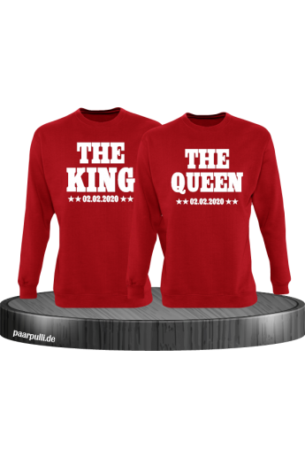 The King The Queen Partnerlook Sweatshirts mit Wunschdatum in rot