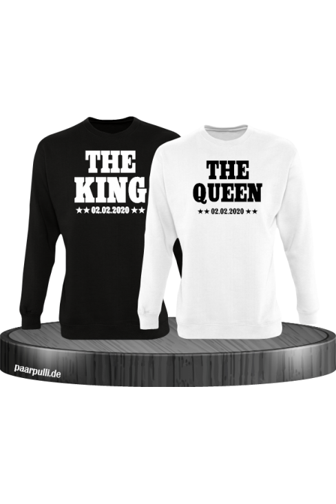 The King The Queen Partnerlook Sweatshirts mit Wunschdatum in schwarz weiß