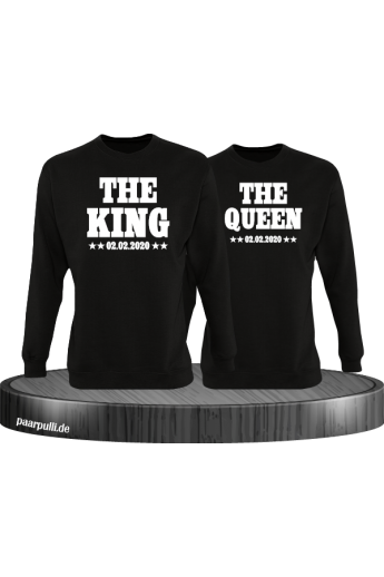The King The Queen Partnerlook Sweatshirts mit Wunschdatum in schwarz