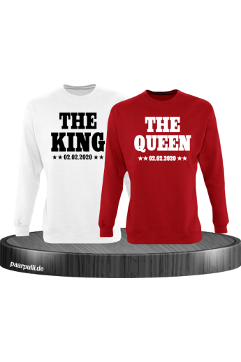 The King The Queen Partnerlook Sweatshirts mit Wunschdatum in weiß rot