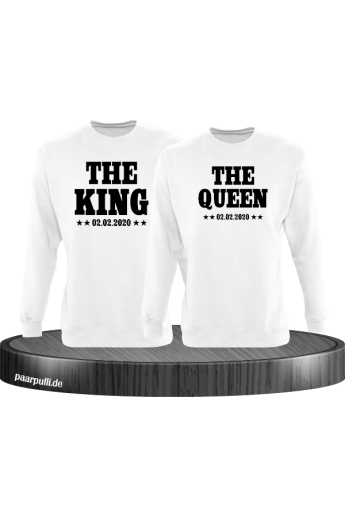 The King The Queen Partnerlook Sweatshirts mit Wunschdatum in weiß