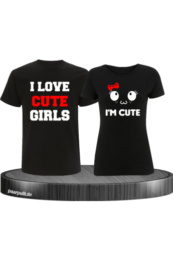 I Love Cute Girls T-Shirts als Partnerlook