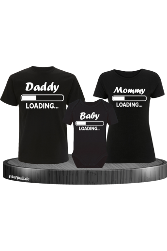 Daddy Mother und Baby Familien-Shirts in schwarz