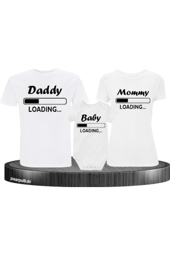 Daddy Mother und Baby Familien-Shirts in weiß