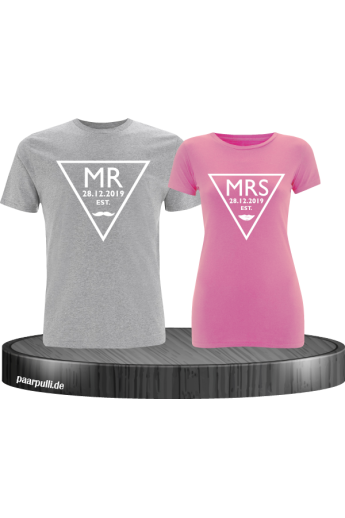 Mr. und Mrs. mit Wunschdatum Partnerlook Hoodies in grau rosa