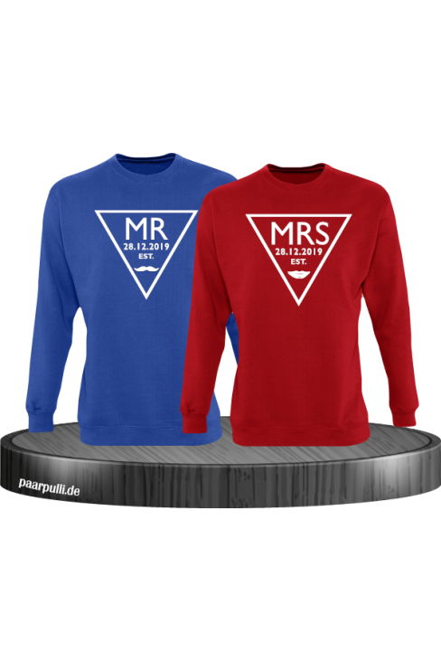 Mr. und Mrs. mit Wunschdatum Partnerlook Sweatshirts in blau rot