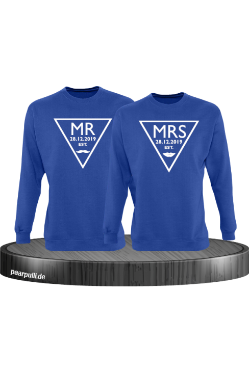 Mr. und Mrs. mit Wunschdatum Partnerlook Sweatshirts in blau
