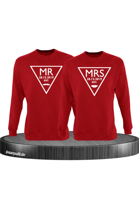 Mr. und Mrs. mit Wunschdatum Partnerlook Sweatshirts in rot