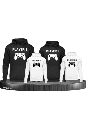 Player Familie Set Hoodies in Schwarz-Weiß