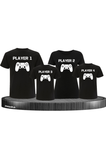 Player Familie Set T-Shirts in Schwarz
