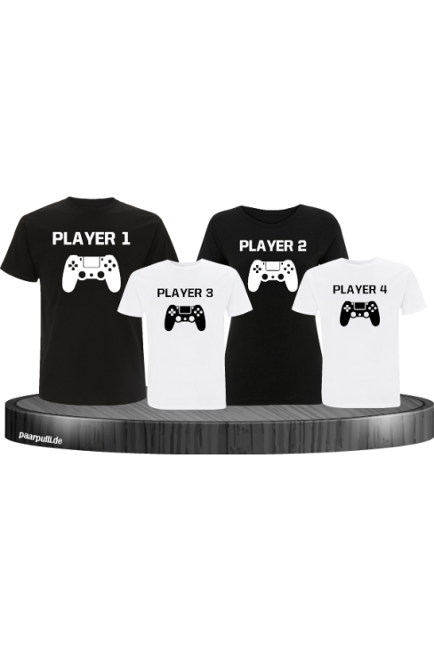 Player Familie Set T-Shirts in Schwarz-Weiß