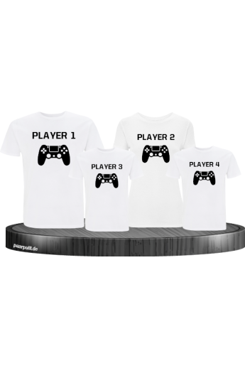 Player Familie Set T-Shirts in Weiß