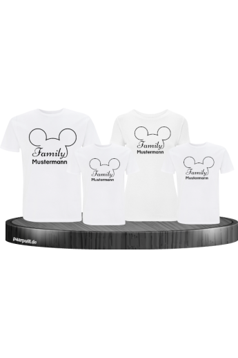 Family Comic Design T-Shirts mit Wunschname