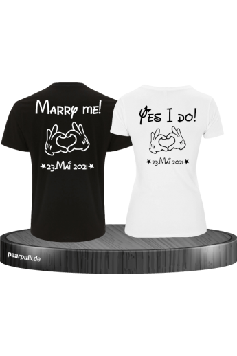 MARRY ME und YES I DO Partner Shirt Set