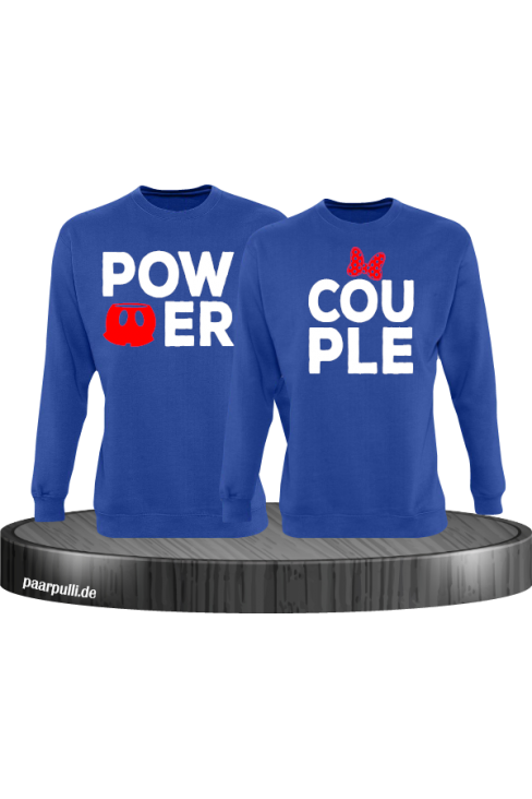 Power Couple sweatshirts mit roter figur und roter schleife in blau