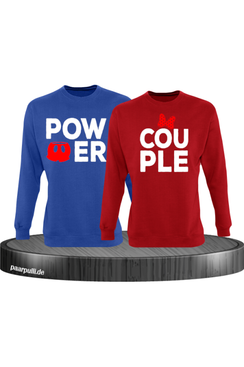 Power Couple sweatshirts mit roter figur und roter schleife in blau rot