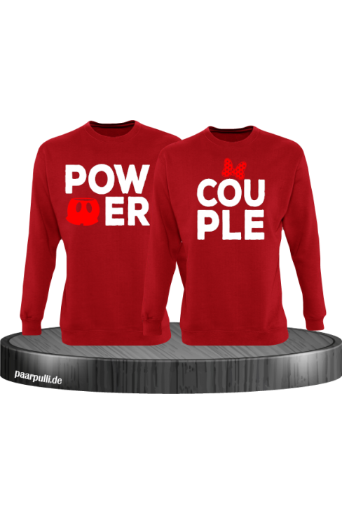 Power Couple sweatshirts mit roter figur und roter schleife in rot