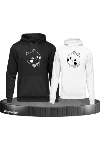 Süße Gesichter im Comic Design Partnerlook Hoodies