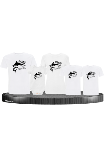 Shark Familien 5er T-Shirt-Set