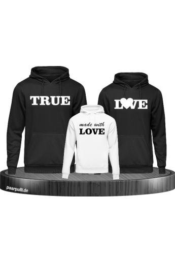 True love familienlook hoodie set in schwarz weiß