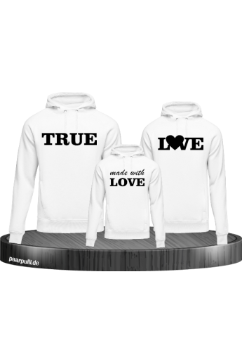 True Love und made with Love Familienlook Hoodies