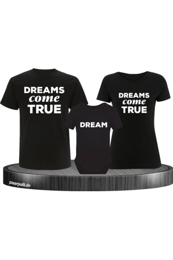 Dreams Come True Familienlook T-Shirts mit Baby-Body in schwarz